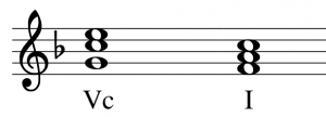 Perfect cadence 5C to 1 in F major